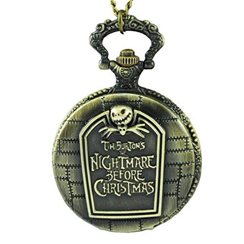 VIGOROSO Pocket Watch Steampunk Skullington Burton's Nightmare Before Christmas Bronze
