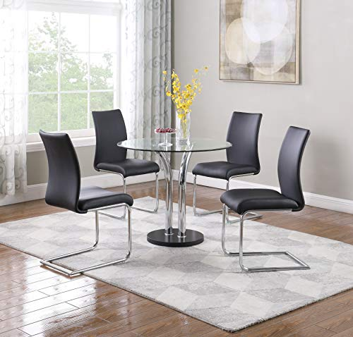 Milan Tina Clear Round Glass with Beveled Edge Bistro Dining Table