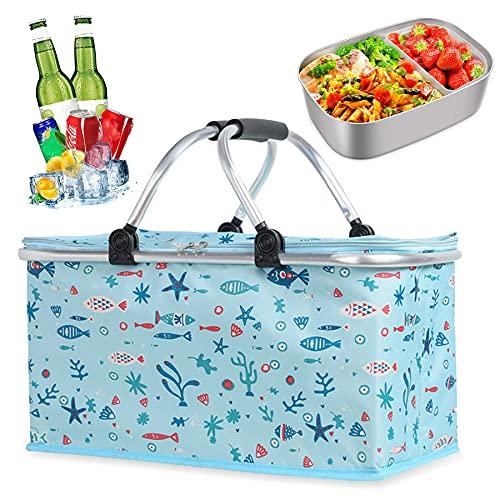Kühltasche Picknicktasche, 22L Thermo Einkaufskorb,Picknicktasche Einkaufskorb,Picknickkorb,Einkaufskorb Kühltasche faltbar,Picknicktasche kühltasche,Einkaufskorb