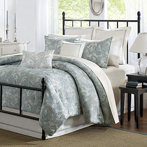 Harbor House Chelsea Duvet Cover King Size - Dusty Blue , Paisley Duvet Cover Set – 4 Piece – 100% Cotton Sateen Light Weight Bed Comforter Covers