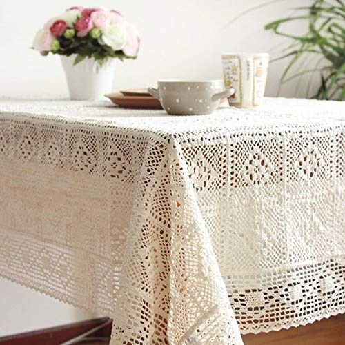 sxh2818578 Tischdecke aus Baumwollstrick mit Spitzenmotiv Shabby Chic Vintage Häkeltischdecke handgefertigte Tischdecke aus Baumwollspitzen