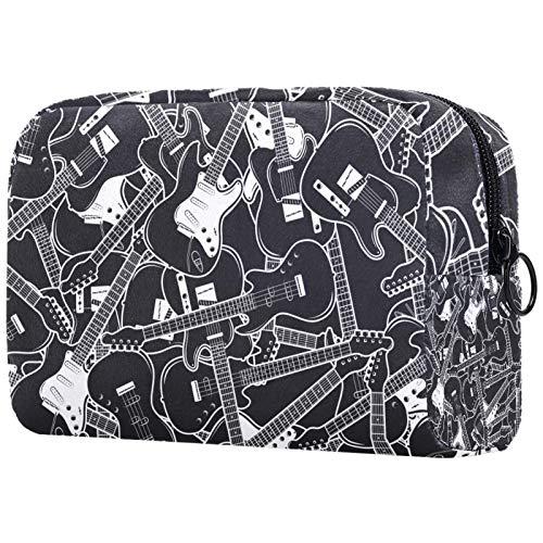 Bolsa de cosméticos para mujer, guitarras eléctricas, patrón de música, color blanco...