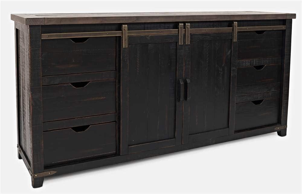 Jofran Madison County Reclaimed Pine Barn Door Farmhouse Buffet Sideboard Server, Vintage Black