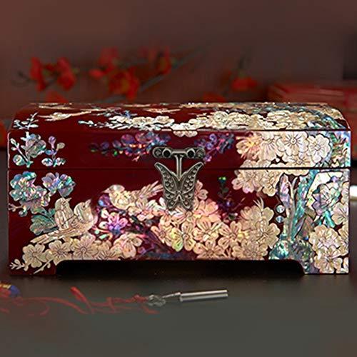 YYH Tragbar Schraube Lack Ware Schmuckschatulle Massivholz Schmuckschatulle Aufbewahrungsbox Hochzeitsgeschenk (Color : Half Buckle)