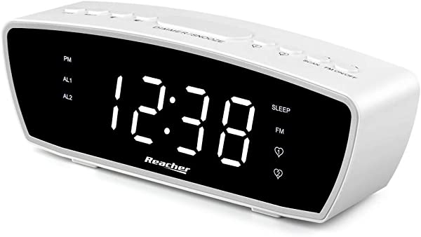 Reacher Modern Dual Alarm Clock Radio With Adjustable Alarm Volume For Heavy And Light Sleepers USB Phone Charger Port Sleep Timer Dimmer Snooze For Bedrooms Bedside White Renewed