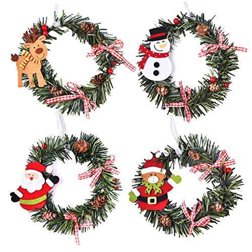 Xnuoyo Juego de Corona de Navidad para Colgar En La Puerta, Papá Noel/Muñeco De Nieve/Alce/Oso, Decoraciones para árboles De Navidad, Corona De Piña (4 Piezas)