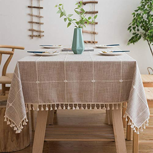 Yinaa Mantel para Mesa de Cocina o Salón Hojas Rectangular Inicio Retro Lavable Diseño de Comedor decoración del Hogar Marrón 140×200cm