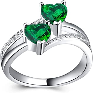 CHARHODEN White gold plated Women Zircon Double Heart Shaped Gemstone Ring -7