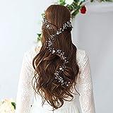 Adorno para el pelo de la novia: joyas para novias plateadas con perlas extralargas y perlas de cristal, adorno para el pelo con flores blancas, hojas de estrás para novia, dama de honor, niña (50 cm)