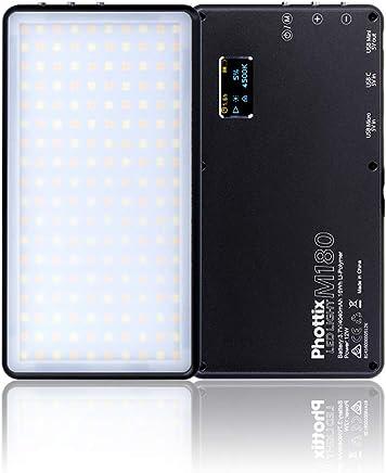 Phottix 一眼ビデオ撮影スマホ用ポータブルLEDライト M180 ブラック