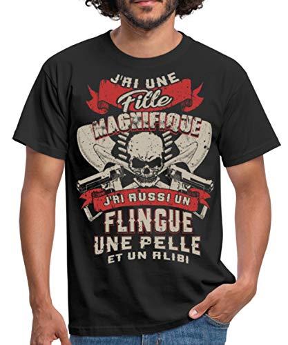 Spreadshirt Père Tête De Mort Fille Magnifique T-Shirt Homme, M, Noir