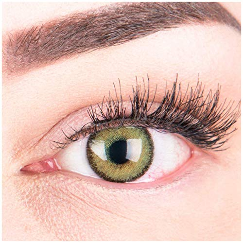 Glamlens Farbige Grüne Kontaktlinsen Mirel Green Stark Deckende Natürliche Silikon Comfort Linsen - 1 Paar (2 Stück) Mit Stärke -3.00 Dioptrien