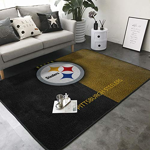 Team ProMark Pittsburgh Steelers Super Soft Area Rugs,Anti-Slip American Football Mats Carpets for Playhouse Princess Tent Kids Play Castle 80 x 58in