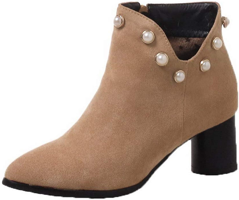 AmoonyFashion Women's Kitten-Heels Pointed-Toe Imitated Suede Zipper Boots, BUSXT121243
