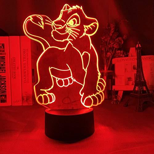 Illusion Night Light Lampe 7 Couleur Simba Lion King Convient Pour Chambre Enfants Anniversaire Cadeau Saint Valentin - Noir Base_Simba Cross Legs