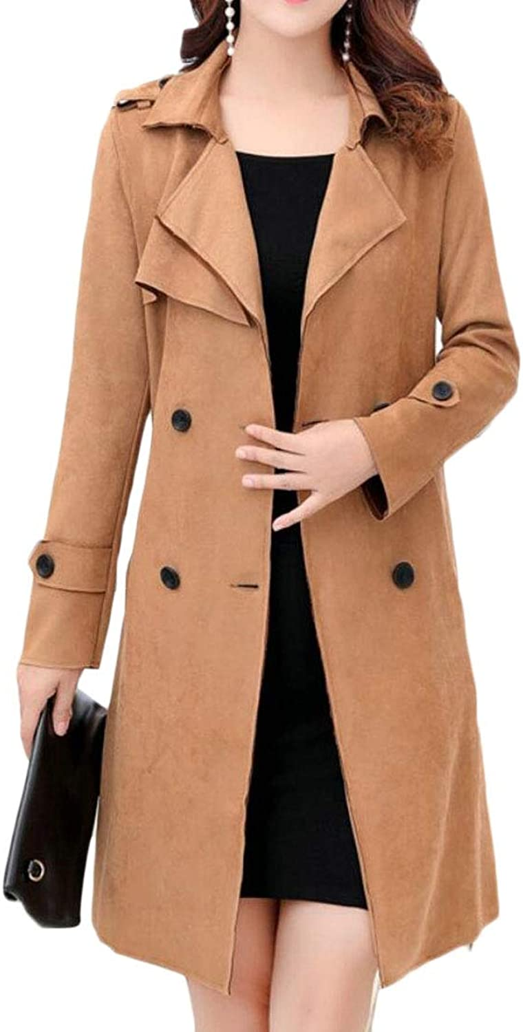Esast Women DoubleBreasted Trench Coat Belt Long Sleeve Jackets