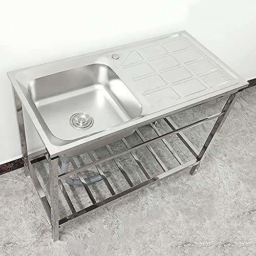 Fregadero de cocina comercial, fregadero de acero inoxidable con estante de almacenamiento, lavabo de cocina para bar en casa, restaurante/Silver / 100cm