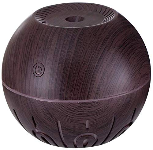 Humidificador humidificador, difusor de aceite esencial de madera humidificador ultrasónico portátil adecuado para sala de estar dormitorio (color amarillo), marrón