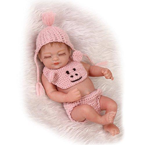 NPKDOLL リボーンベビードールハードシミュレーションシリコーンビニール10インチアクリル目と目を閉じたモヘアで26センチメートル防水浴室子供のおもちゃのプレゼントフラワーピンクの布ガール Reborn Baby Doll A1JP