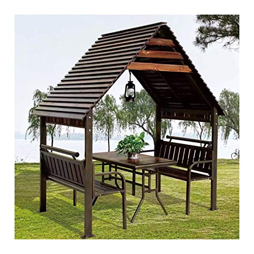 HLZY Gazebo Permanente per Patio Lawn, Gazebos all'aperto per patii, in Legno massello Villa Chalet Piccola casa Capannone per Giardino, tonalità Gazebo