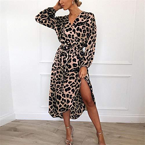Vestido de Mujer Vestido Casual de Gasa de Manga Larga con Estampado de Leopardo Vestido Elegante para Mujer Vestidos de