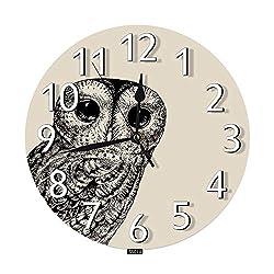 SSOIU Cute Owl Wall Clock,Night Bird Retro Baby Forest Animal Black Creature Cartoon Silent Non-Ticking Round Wall Clock Battery Operated for Home Office Decorative Clock Art