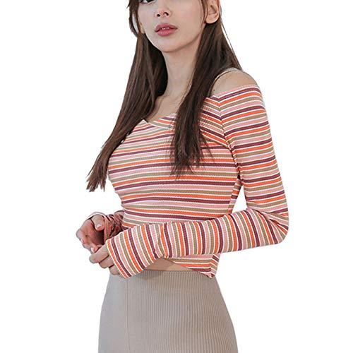 Tops de Entrenamiento para Mujeres Workout Tops Camiseta sin Tirantes Delgadas a Rayas Camisetas de Manga Larga con Cuello en V para Correr Fitness Yoga,Naranja,L