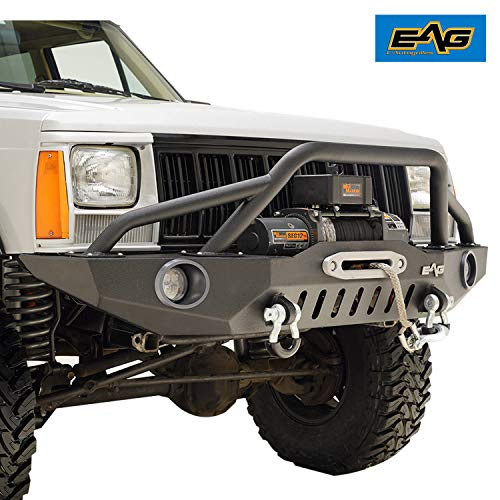 EAG Front Bumper with LED Lights and Winch Plate Fit 84-01 Cherokee XJ   84-01 Comanche MJ.