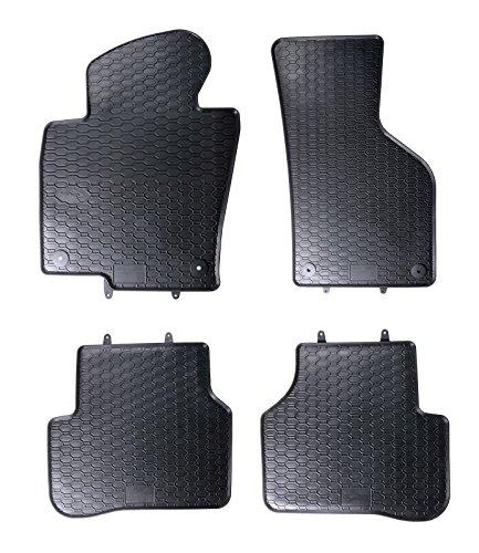 AME Auto-Gummimatten in schwarz und Wabendesign, Geruch-vermindert und passgenau mit verbauten Befestigungen 807/4C