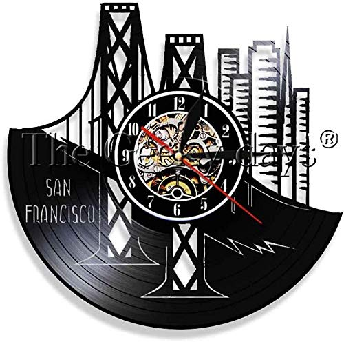szhao 1 Piece San Francisco California Skyline Vinyl Record Wall Clock Bringing Art Hanging on the Wall of the Golden Gate Bridge in the Bay Area