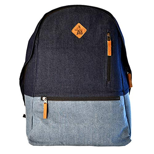 Tag-Wear Denim Backpack Bag with Two Colors (Dark Blue top and Faded Blue Bottom)