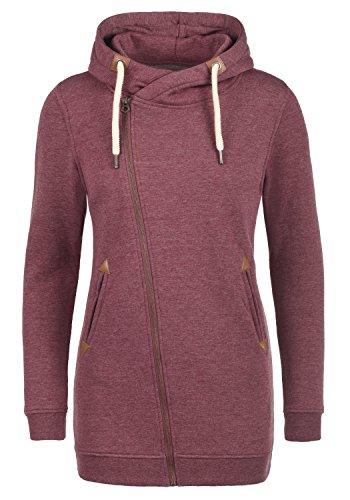 DESIRES Vicky Zip Hood Long Damen Lange Sweatjacke Kapuzenjacke Sweatshirtjacke Mit Kapuze Und Fleece-Innenseite, Größe:M, Farbe:Wine Red Melange (8985)