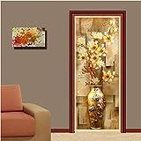 ZPCR European Style 3D Embossed Flower Vase Photo Wall Mural Door Sticker Wallpaper Living Room Study Background Wall Covering Murals