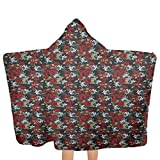 qisile Toalla de baño Red and Black,Kids Hooded Wearable Robe Blanket Floral Pattern with Romantic Rose Bouquets Vintage Soulful Spring Blossoms for Girls and Boys Cute Towel Gift Set Multicolor,51.