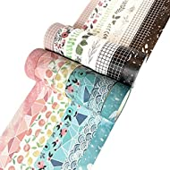Washi Tape Set, 16 Rolls of 15 mm Wide, Cute Decorative Colored Tape for Scrapbooking, Bullet Journals, Planners, DIY Decor and Craft Supplies