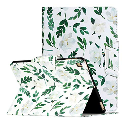 LMFULM Case for Apple iPad Air 3 2019 / iPad Pro 2017 (10.5 Inch) PU Leather Case Protective Shell Wallet Smart Case with Stand Case Flip Cover Holster Magnolia Flower