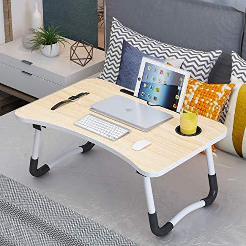 Json LED Laptop Mesa portátil Mesa Neetto Ajustable Mesa de Cama para Portátil (60 * 40 Beige + Ranura de la Taza)