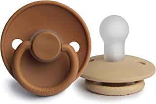 FRIGG Silicone Baby Pacifier   Made in Denmark   BPA-Free (Croissant/Cappuccino, 0-6 Months)