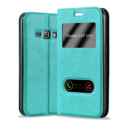Cadorabo Funda Libro para Samsung Galaxy J1 2015 en Turquesa Menta - Cubierta Proteccíon con Cierre Magnético, Función de Suporte y 2 Ventanas- Etui Case Cover Carcasa