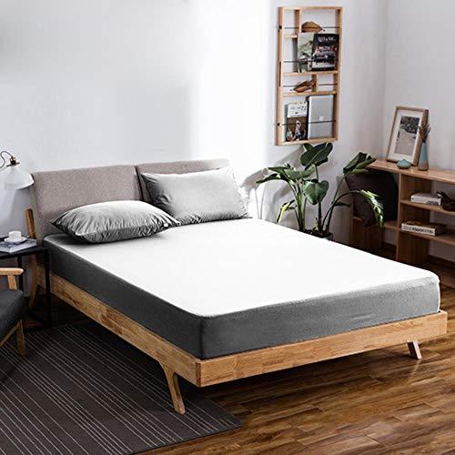 GHJYU Waterfood Sábana bajera de poliéster 7 colores cama colchón conjunto sábana equipada con elástico doble cama drap housse tamaño completo, gris claro, 70x160x30cm