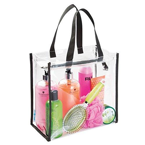 mDesign bolsa viaje perfecta para sus accesorios - Bolsa playa o para artículos de higiene y cosméticos - Bolsa multiusos color transparente/negra