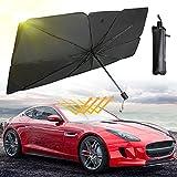Car Windshield Sun Shade Umbrella, Amazmic Sun Shade Umbrella for Car Windshield Sun Heat Visor Protector Foldable Car Front Windshield Umbrella UV Reflector Umbrella(56'x31')