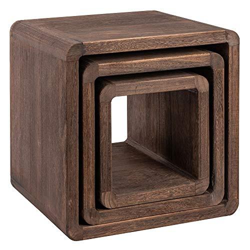 NEG Tisch-Set VINUJA (Dunkelbraun) 3-TLG. Nachttisch/Beistelltisch aus Echtholz (Paulownia)