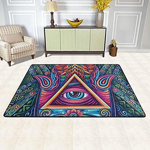 Alfombra de área para sala de estar, todos los ojos de la India Fátima Hamsa mano antideslizante alfombra de piso alfombras decoración del hogar dormitorio