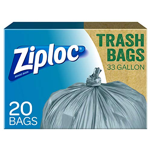 Ziploc Brand 100% Post-Consumer Recycled Trash Bags, 33 Gallon, 20 Bags (Pack - 2)