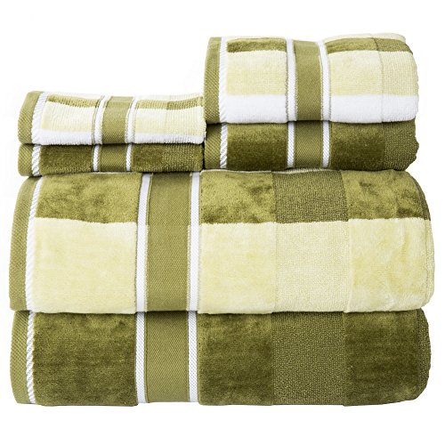 Lavish Home 6 Piece Complete Bathroom Set-Luxurious Spa Quality 100% Cotton Towels with Velour Finish, Highly Absorbent, Machine Washable, Green