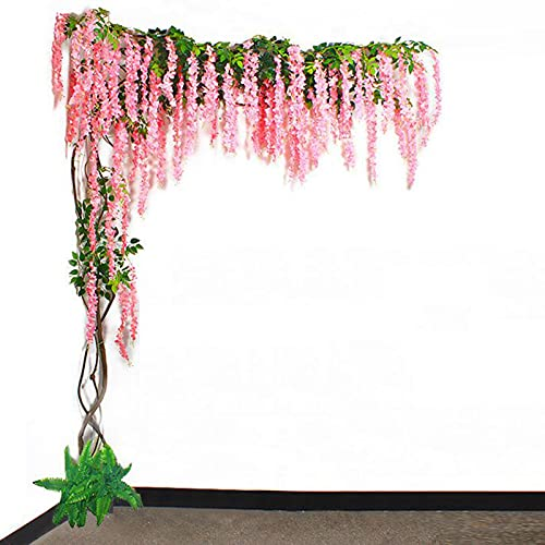 WJQQ Artificial Fake Wisteria Vine Fake Silk Wisteria Hanging Garland Vines Wedding Decorations Real Touch Wisteria Silk Home Party Decor Flower
