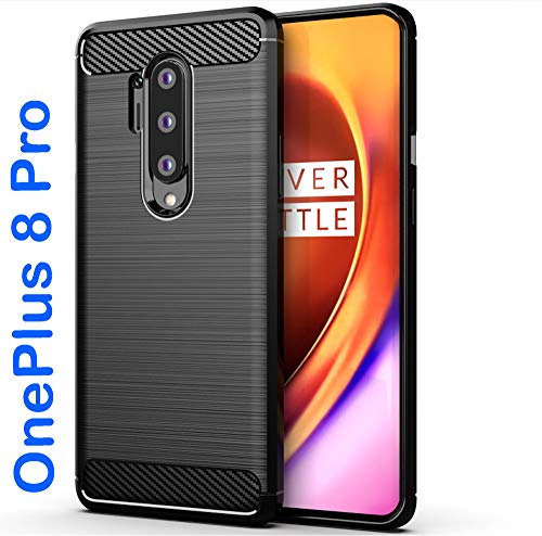 tomaxx hoes voor OnePlus 8 Pro silicone hoes beschermhoes silicone hoes carbon zwart compatibel met OnePlus 8 Pro smartphone