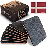 BARVIVO Black Coasters for Drinks Absorbent Set of 8 - Perfect Two Sided Drink Coasters for Wooden Table Protection with a Scratch Preventing Cork Side and an Instant Condensation Absorbing Felt Side