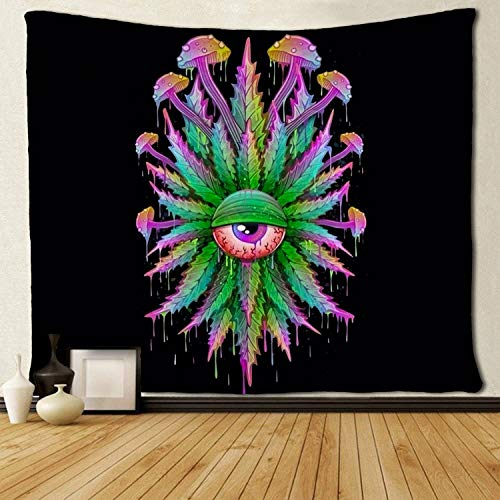 SARA NELL Magical Trippy Psychedelic Tapestry Marijuana Leaf Weed Head with Mushroom Branchs Blue Colorful Rainbow Tie Dye Tapestries Wall Hanging 50x60 Inches Dorm Decor for Living Room Bedroom